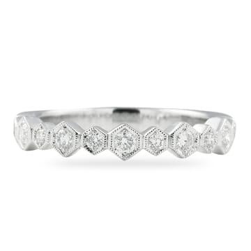 ROUND DIAMONDS IN HEXAGON BEZEL WEDDING BAND