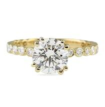 1.45 Carat Round Diamond Yellow Gold Engagement Ring