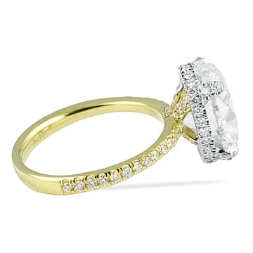 5.05 Carat Oval Diamond Two-Tone Engagement Ring