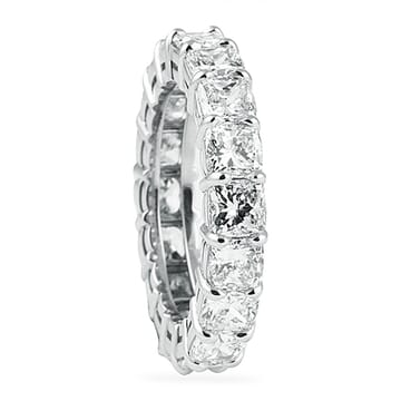 5.08 Carat Cushion Cut Platinum Eternity Band