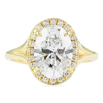 2.50 Carat Oval Diamond Yellow Gold Engagement Ring