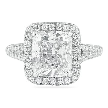 4.02 Carat Cushion Cut Platinum Engagement Ring