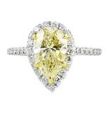 2.05 Carat Yellow Pear Shape Diamond Engagement Ring