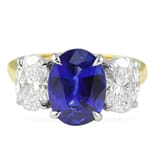 3.20 ct Sapphire and Diamond Two-Tone Ring