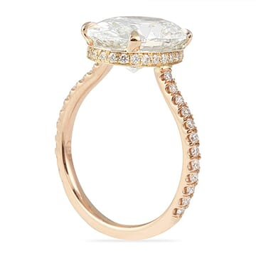 3.01 Carat Oval Diamond Rose Gold Invisible Gallery™ Engagement Ring