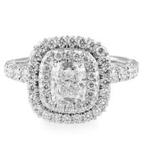1.00 ct Cushion Cut Diamond Double Halo Engagement Ring