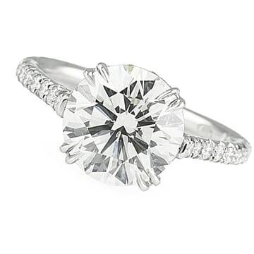 3.01 Carat Round Diamond Platinum Cathedral Engagement Ring
