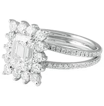 1.70 ct Emerald Cut Diamond Vintage Halo Engagement Ring