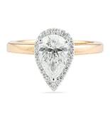 1.20 Carat Pear Shape Diamond Halo Engagement Ring & Plain Band