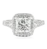 1.70 ct Princess Cut Diamond Halo with Split Engagement Ring