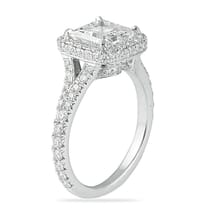 1.70 ct Princess Cut Diamond Halo with Split Engagement Ring