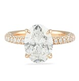 2.70 ct Oval Diamond Rose Gold Three-Row Band Engagement Ring