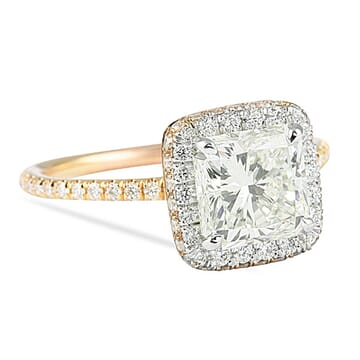 1.50 Carat Radiant Cut Two-Tone Halo Engagement Ring
