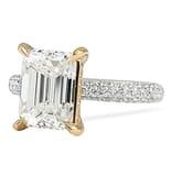 2.40 ct Emerald Cut Diamond Three-Row Band Engagement Ring