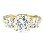 2.50 Carat Round Diamond Yellow Gold Three-Stone Engagement Ring