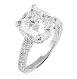 4.00 ct Cushion Cut Diamond Three-Row Band Engagement Ring