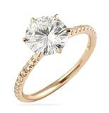 Round Moissanite Rose Gold Six-Prong Ring