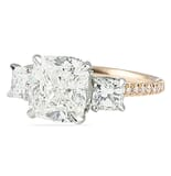 3.03 Carat Cushion Diamond Three-Stone Signature Wrap Engagement Ring