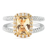 Peach Sapphire and Diamond Two-Tone Ring
