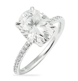 Oval Moissanite Pave Engagement Ring