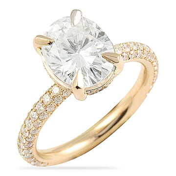Oval Moissanite Three-Row Band Rose Gold Ring