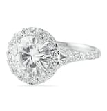 Round Moissanite Halo Engagement Ring with Split