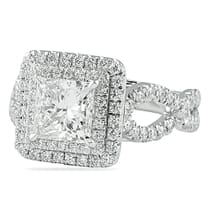 1.80 ct Princess Cut Double Halo Engagement Ring