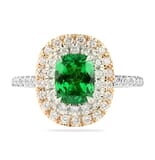 Tsavorite and Diamond Two Tone Double Halo Ring