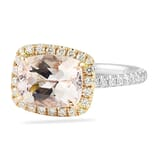 Morganite and Diamond East-West Halo Ring