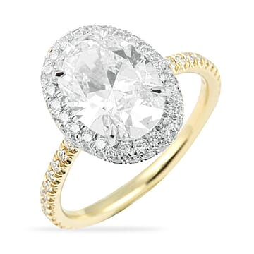 2.50 Carat Oval Diamond Two-Tone Halo Engagement Ring
