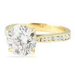 3.00 ct Round Diamond Yellow Gold Engagement Ring with Tapered Band
