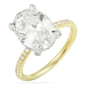 2.75 Carat Oval Diamond Fully Encrusted Basket Engagement Ring