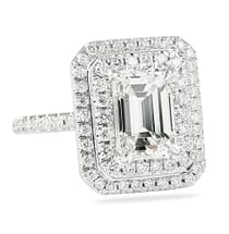 2.00 ct Emerald Cut Diamond Double Halo Engagement Ring