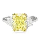 3.44 ct Yellow Radiant Diamond Three-Stone Engagement Ring