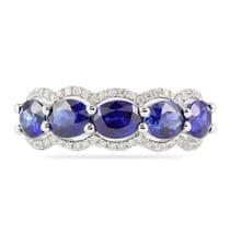 oval sapphire and diamond wedding band