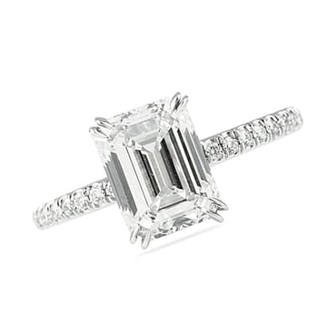 2.50 Carat Emerald Cut Two-Tone Signature Wrap Engagement Ring