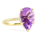 Amethyst Pear and Diamond Yellow Gold Ring