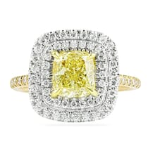 1.51 ct Yellow Cushion Diamond Double-Halo Engagement Ring
