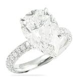 5.00 ct Pear Shape Diamond Three-Row Band Engagement Ring