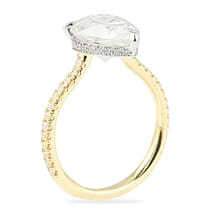 two tone engagement ring design with yellow gold band