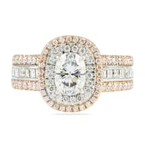 OVAL MOISSANITE DOUBLE HALO ENGAGEMENT RING
