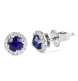 SAPPHIRE AND DIAMOND WHITE GOLD EARRINGS