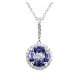 SAPPHIRE AND DIAMOND 18K WHITE GOLD PENDANT