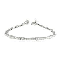 Round Diamond Thin Pave Bar Bracelet