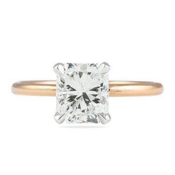 CUSTOM TWO-TONE RADIANT CUT SOLITAIRE ENGAGEMENT RING