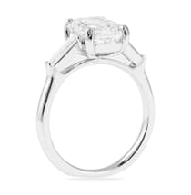 2.63 Carat Emerald Cut Diamond Three-Stone Engagement Ring