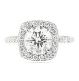 1.71 ct Round Diamond in Cushion Halo Engagement Ring
