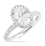 1.51 Carat Oval Diamond Halo Engagement Ring With Three-Row Band