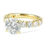 3.00 ct Round Diamond Yellow Gold Ring with U-Shape Band