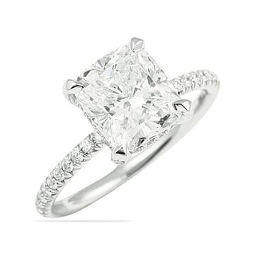CUSHION CUT PAVE DIAMOND ENGAGEMENT RING
